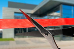 Building opening ceremony - cutting red ribbon. Business building opening ceremony - cutting red ribbon stock images