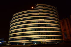 Building of original design in Astana, at night Royalty Free Stock Photos