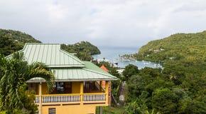 Building Overlooking Marigot Bay. Overlook Above Marigot Bay on Antigua Stock Photography