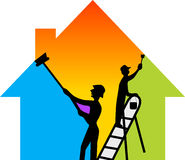 Building painter. Illustration art of a building painter with isolated background Stock Photo