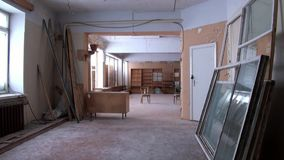 Building of Palace of Culture and Sports in Pyramiden Spitsbergen Arctic. Russian neglected township. Canned place times of Soviet Union. Time stood still of stock video