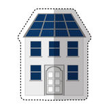 Building with panel solar silhouette isolated icon Stock Photography