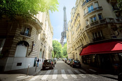 Building in Paris near Eiffel Tower Royalty Free Stock Images
