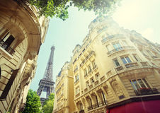 Building in Paris near Eiffel Tower Stock Photography