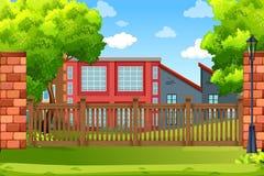 Building in park scene vector illustration