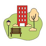 Building park trees clouds. Outdoor vector illustration stock illustration