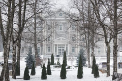 Building in a park at winter time Royalty Free Stock Photo