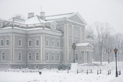 Building in a park at winter time Royalty Free Stock Photos