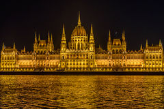 Building of Parliament in Budapest at night, Hungary Royalty Free Stock Image
