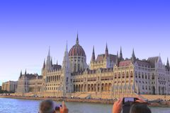 Budapest, Hungary - 08/13/2017 The building of the Parliament stock photos