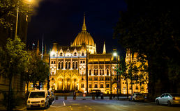 The Building of Parliament at night in Budapest Royalty Free Stock Photos