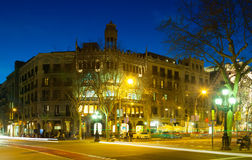 Building at Passeig de Gracia in winter night Royalty Free Stock Images