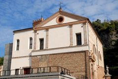Building on past the church now used as exhibits in Monselice in the Veneto (Italy) Royalty Free Stock Photos