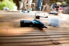 Building a patio Stock Photos