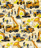 Building people and construction equipment color seamless pattern. Stock Image