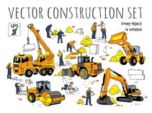 Building people and construction equipment  objects set. Stock Images