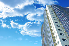 Building in perspective. Modern building in perspective with blue sky in background Stock Photo