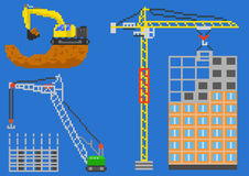 Building pixel house. Building house engineering with cranes and excavator. Pixel vector illustration Royalty Free Stock Image