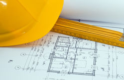 Building plan. With helmet and meter stock images