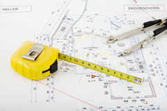 Building plan. For the construction of a house Stock Photos