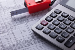 Building Plan. Calculator and Meter on Architecht Building Plan Stock Image