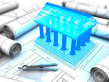Building plan. 3d illustration of building with columns model and plan Royalty Free Stock Photos