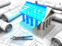 Building plan. 3d illustration of building with columns model and plan Royalty Free Stock Images