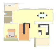 Building plan downstairs Royalty Free Stock Photo