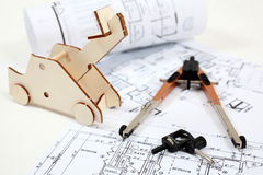Building plan and equipment Stock Image