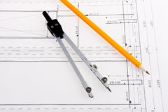 Building plan of reinforced concrete construction. With compasses and pencil stock photos
