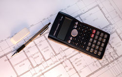 Building plan with stationery. Stock Photo