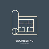 Building plan vector flat line icon. Architecture logo. Illustration of architectural drawing. Engineering survey. Service sign vector illustration