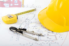 Free Building Plan With Pair Of Compasses And Rolling M Stock Photos - 5302813