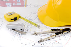 Free Building Plan With Pair Of Compasses And Rolling M Royalty Free Stock Photography - 5302817