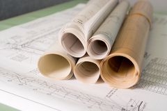 Building Plans. On architect's desk stock photography