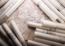 Building plans Stock Photography