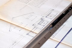 Building plans B. Photograph of building plans with a pencil and ruler Stock Images