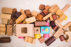 Building playing toy blocks wood for baby education. With copy space stock photography