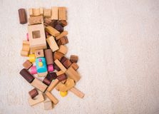 Building playing toy blocks wood for baby education. With copy space stock image