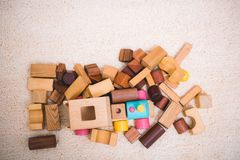 Building playing toy blocks wood for baby education. With copy space stock photo