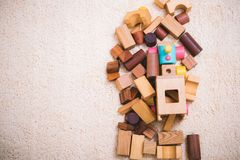 Building playing toy blocks wood for baby education. With copy space royalty free stock photography