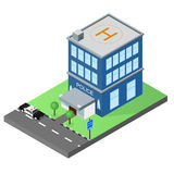 The building of the police station in the isometric. Police car. Royalty Free Stock Images