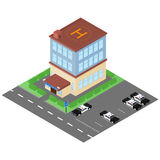 The building of the police station in the isometric. Police cars Stock Photography