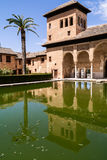Building with pool and palm tree. At the historic site of the Alhambra in spain Royalty Free Stock Image