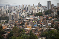 Building and poor slum of Brazil. stock photography
