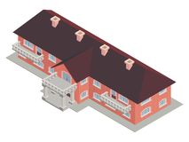 Building private school isometric  brown roof. Building private school isometrics  brown roof made of bricks Stock Photos