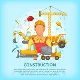 Building process concept erector, cartoon style Stock Photo