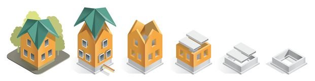Building progress. Illustration careful phased construction of a residential home, step by step Royalty Free Stock Image