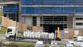 Building progress 153. At 47 Beane St. Gosford. November 2018. Gosford, New South Wales, Australia - November 29, 2018: Materials delivery to Construction and stock photos