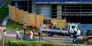 Building progress 142d. At 47 Beane St. Gosford. MONTH 2018. Gosford, New South Wales, Australia - October 9. 2018: Construction and building progress update stock photography